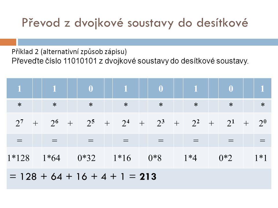 Převod z dvojkové soustavy do desítkové 1 1 0 1 0 1 0 1 * * * * * * * * 2727 +2626 +2525 +2424 +2323 +2 +2121 +2020 ======== 1*128 1*64 0*32 1*16 0*8