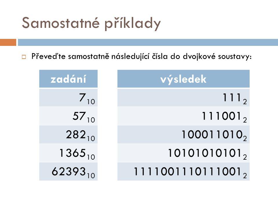 Samostatné příklady  Převeďte samostatně následující čísla do dvojkové soustavy: zadání 7 10 57 10 282 10 1365 10 62393 10 výsledek 111 2 111001 2 10
