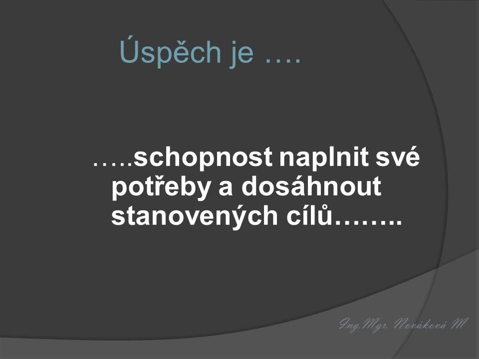 Ing.Mgr. Nováková M Úspěch je …. …..schopnost naplnit své potřeby a dosáhnout stanovených cílů……..
