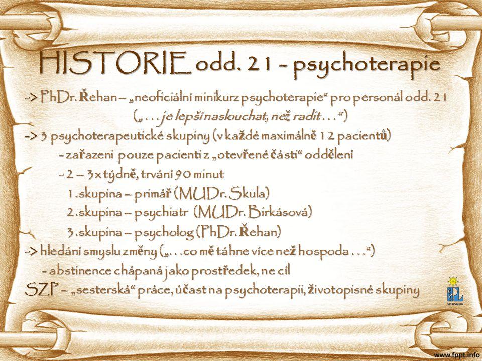 """HISTORIE odd. 21 - psychoterapie -> PhDr. Ř ehan – """"neoficiální minikurz psychoterapie"""" pro personál odd. 21 -> PhDr. Ř ehan – """"neoficiální minikurz p"""