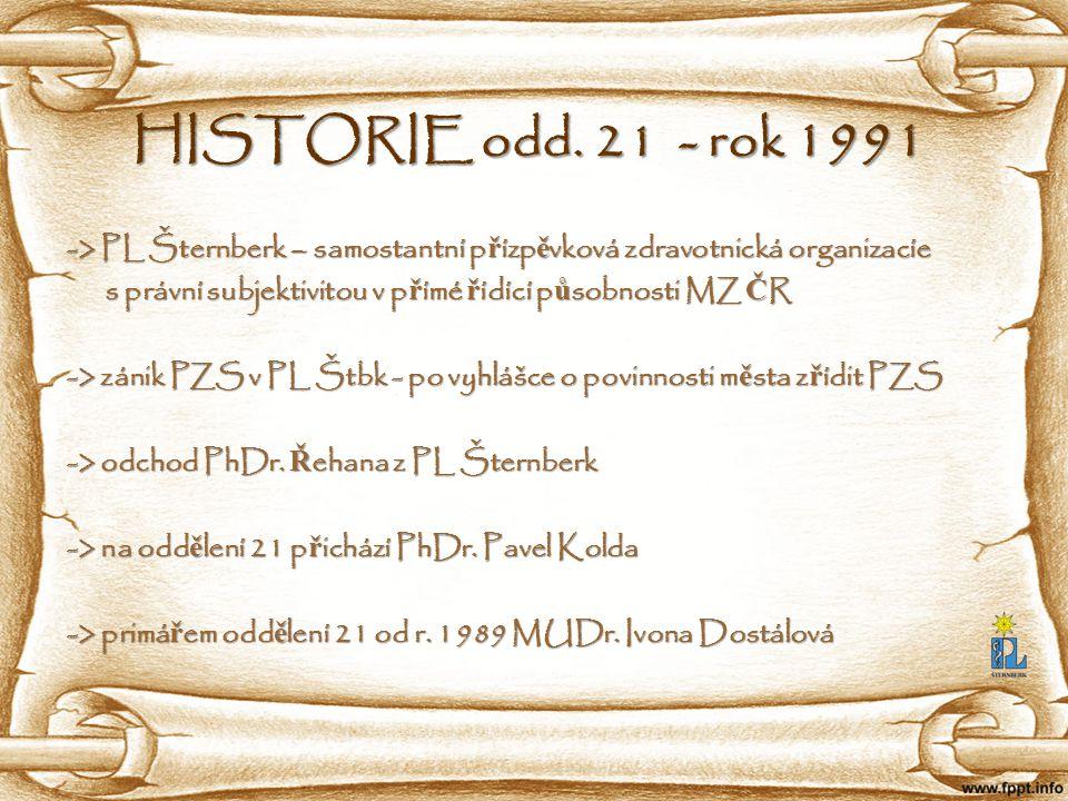 HISTORIE odd. 21 - rok 1991 -> PL Šternberk – samostantní p ř ízp ě vková zdravotnická organizacíe -> PL Šternberk – samostantní p ř ízp ě vková zdrav