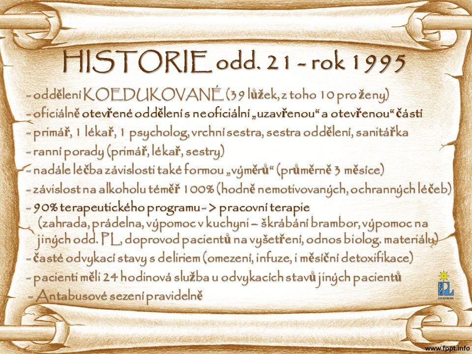 HISTORIE odd. 21 - rok 1995 - odd ě lení KOEDUKOVANÉ (39 l ůž ek, z toho 10 pro ž eny) - odd ě lení KOEDUKOVANÉ (39 l ůž ek, z toho 10 pro ž eny) - of