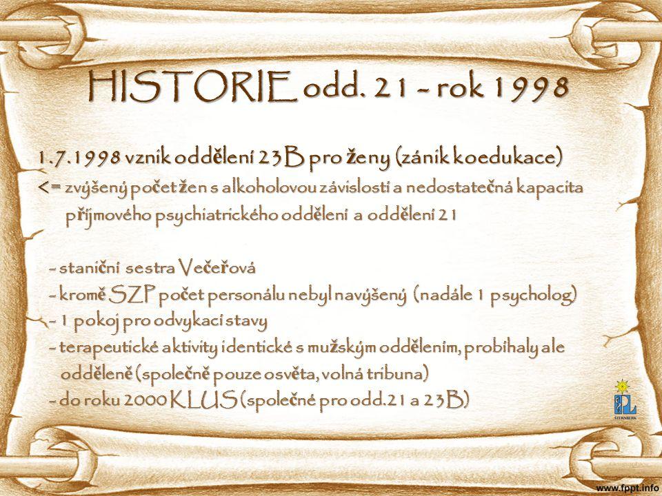 HISTORIE odd. 21 - rok 1998 1.7.1998 vznik odd ě lení 23B pro ž eny (zánik koedukace) 1.7.1998 vznik odd ě lení 23B pro ž eny (zánik koedukace) <= zvý