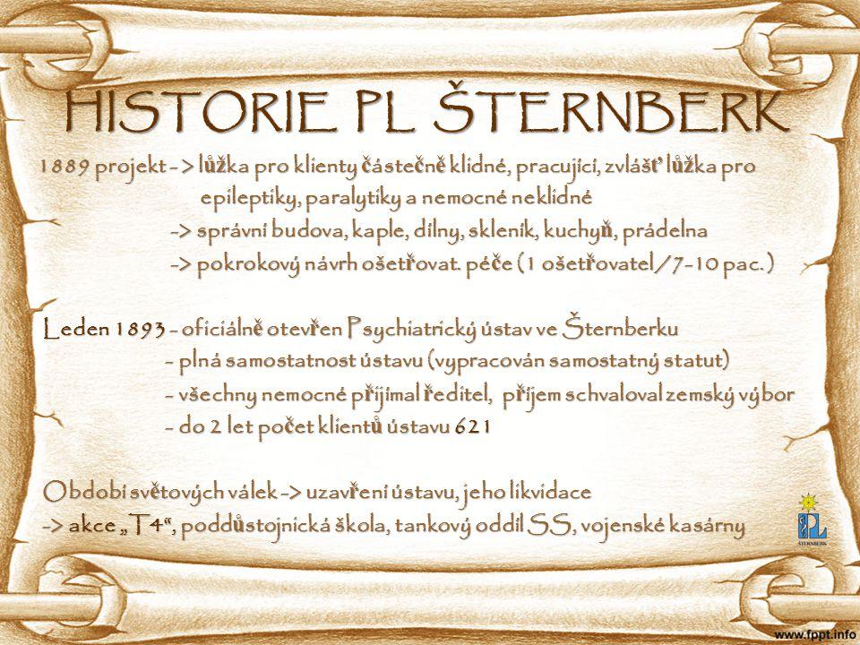 HISTORIE PL ŠTERNBERK 1889 projekt - > l ůž ka pro klienty č áste č n ě klidné, pracující, zvláš ť l ůž ka pro 1889 projekt - > l ůž ka pro klienty č