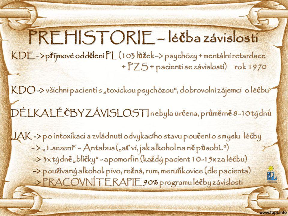 Psychiatrická léčebna Šternberk, Olomoucká 1848/173, 78501 Šternberk HISTORIE versus SOUČASNOST MINULOST: MINULOST: - přijímáni pacienti v špatném somatickém stavu (exity na odd.