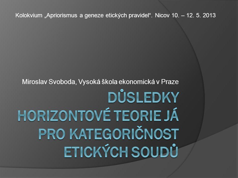"Miroslav Svoboda, Vysoká škola ekonomická v Praze Kolokvium ""Apriorismus a geneze etických pravidel ."