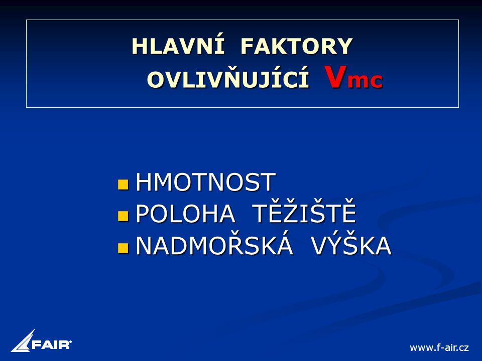 HLAVNÍ FAKTORY OVLIVŇUJÍCÍ V mc  HMOTNOST  POLOHA TĚŽIŠTĚ  NADMOŘSKÁ VÝŠKA www.f-air.cz