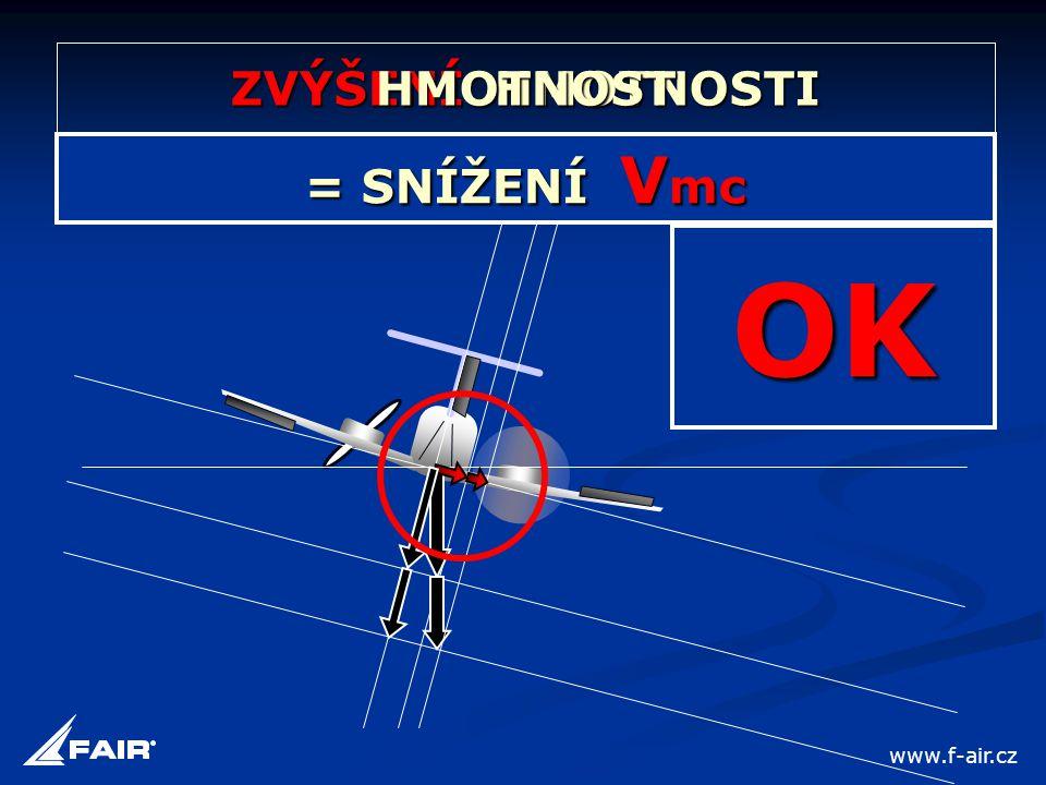 ZVÝŠENÍ HMOTNOSTI = SNÍŽENÍ V mc HMOTNOST OK www.f-air.cz