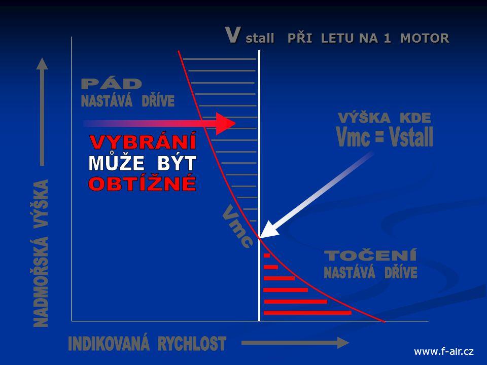 V stall PŘI LETU NA 1 MOTOR www.f-air.cz