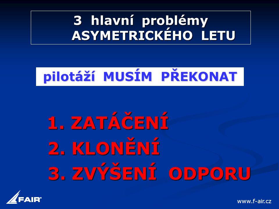 3 hlavní problémy ASYMETRICKÉHO LETU 1. ZATÁČENÍ 2. KLONĚNÍ 3. ZVÝŠENÍ ODPORU pilotáží MUSÍM PŘEKONAT www.f-air.cz