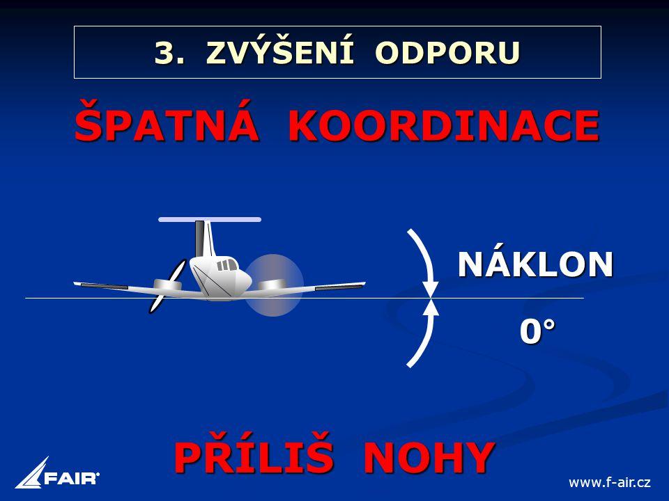 3. ZVÝŠENÍ ODPORU ŠPATNÁ KOORDINACE PŘÍLIŠ NOHY NÁKLON 0° www.f-air.cz