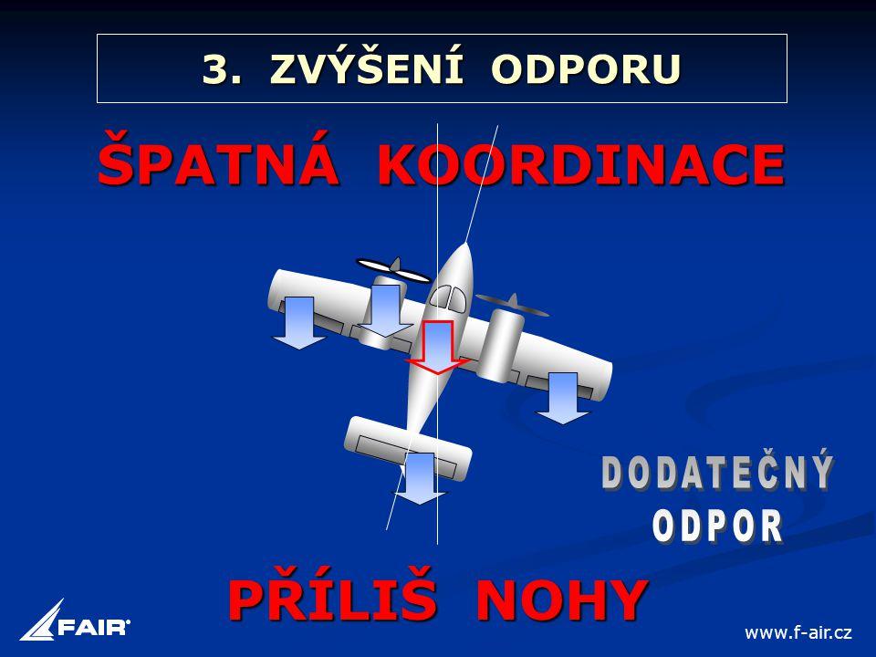 3. ZVÝŠENÍ ODPORU ŠPATNÁ KOORDINACE PŘÍLIŠ NOHY www.f-air.cz
