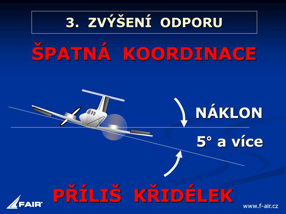 3. ZVÝŠENÍ ODPORU ŠPATNÁ KOORDINACE PŘÍLIŠ KŘIDÉLEK NÁKLON 5° a více www.f-air.cz
