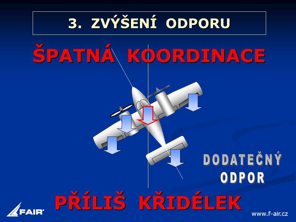 3. ZVÝŠENÍ ODPORU ŠPATNÁ KOORDINACE PŘÍLIŠ KŘIDÉLEK www.f-air.cz