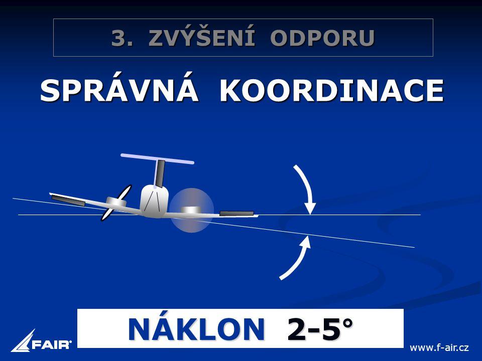 3. ZVÝŠENÍ ODPORU SPRÁVNÁ KOORDINACE NÁKLON 2-5° www.f-air.cz