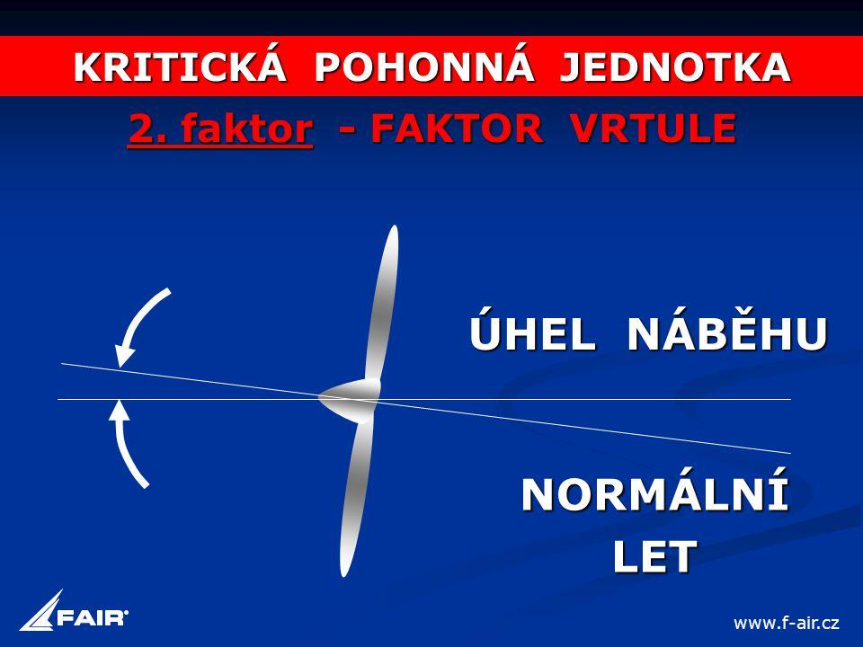 KRITICKÁ POHONNÁ JEDNOTKA 2. faktor - FAKTOR VRTULE ÚHEL NÁBĚHU NORMÁLNÍLET www.f-air.cz