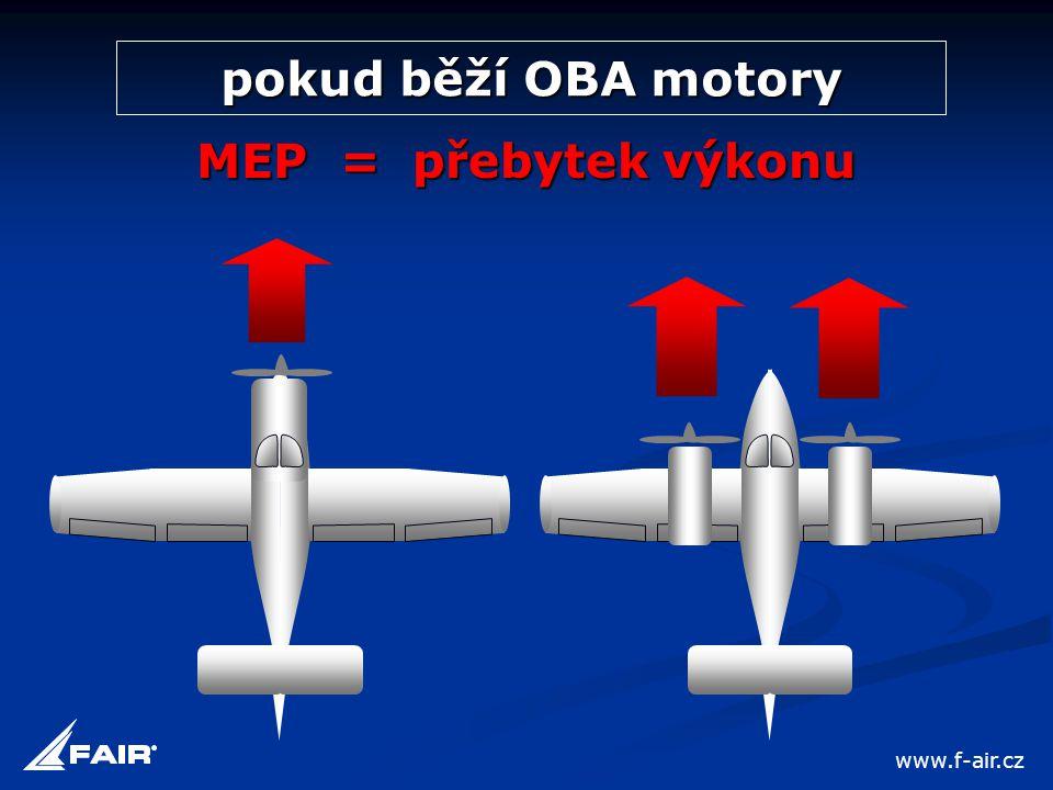 pokud běží OBA motory MEP = přebytek výkonu www.f-air.cz