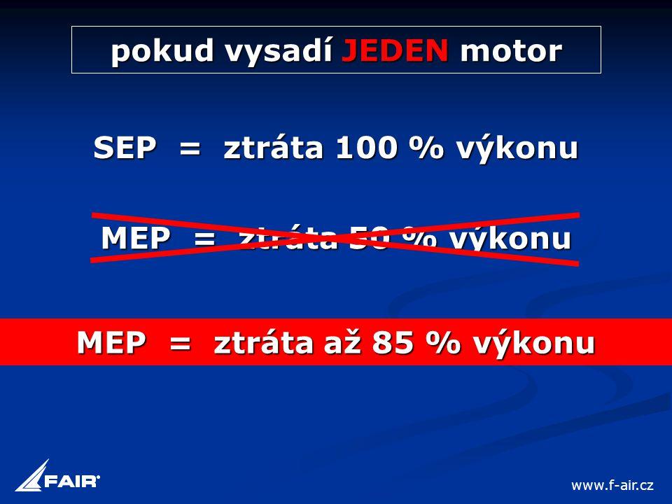 pokud vysadí JEDEN motor SEP = ztráta 100 % výkonu MEP = ztráta 50 % výkonu MEP = ztráta až 85 % výkonu www.f-air.cz