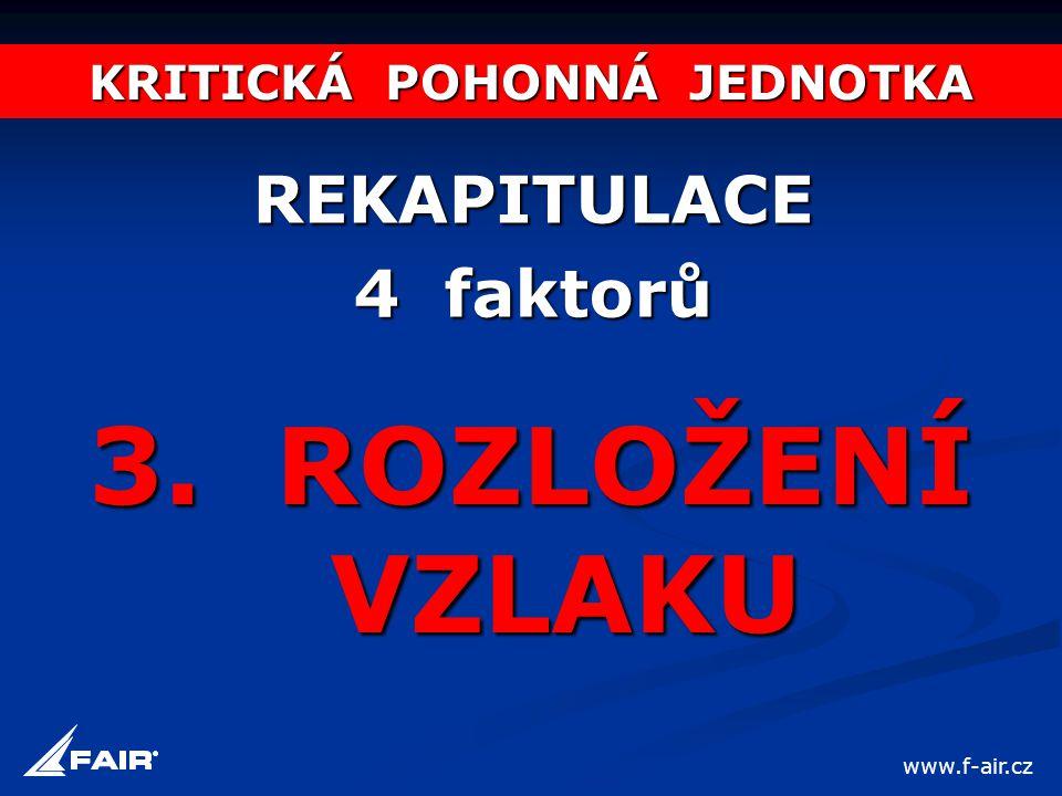 KRITICKÁ POHONNÁ JEDNOTKA REKAPITULACE 4 faktorů 3. ROZLOŽENÍ VZLAKU www.f-air.cz