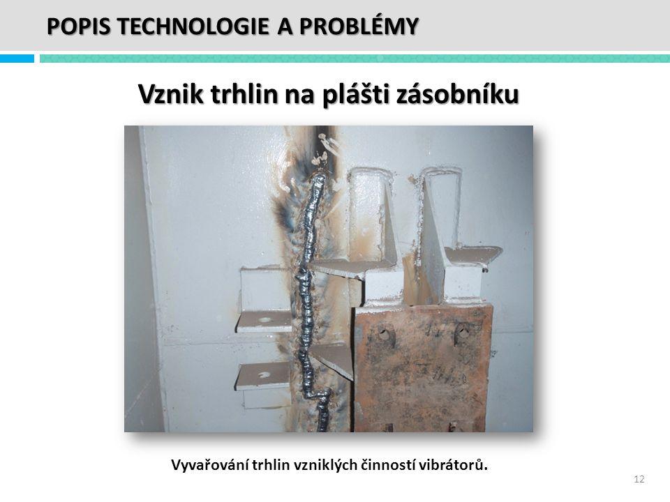 Vznik trhlin na plášti zásobníku Vyvařování trhlin vzniklých činností vibrátorů. 12 POPIS TECHNOLOGIE A PROBLÉMY