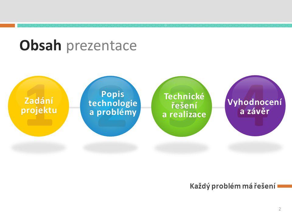 Obsah prezentace Každý problém má řešení 1 Zadání projektu 2 Popis technologie a problémy 3 Technické řešení a realizace 4 Vyhodnocení a závěr 2