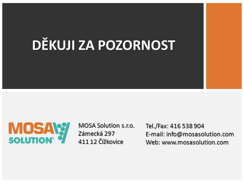 DĚKUJI ZA POZORNOST MOSA Solution s.r.o. Zámecká 297 411 12 Čížkovice Tel./Fax: 416 538 904 E-mail: info@mosasolution.com Web: www.mosasolution.com