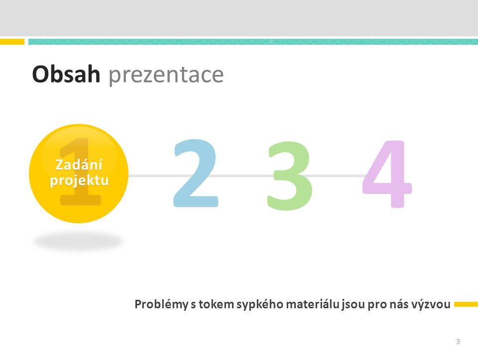 Obsah prezentace Problémy s tokem sypkého materiálu jsou pro nás výzvou 2 3 4 1 Zadání projektu 3