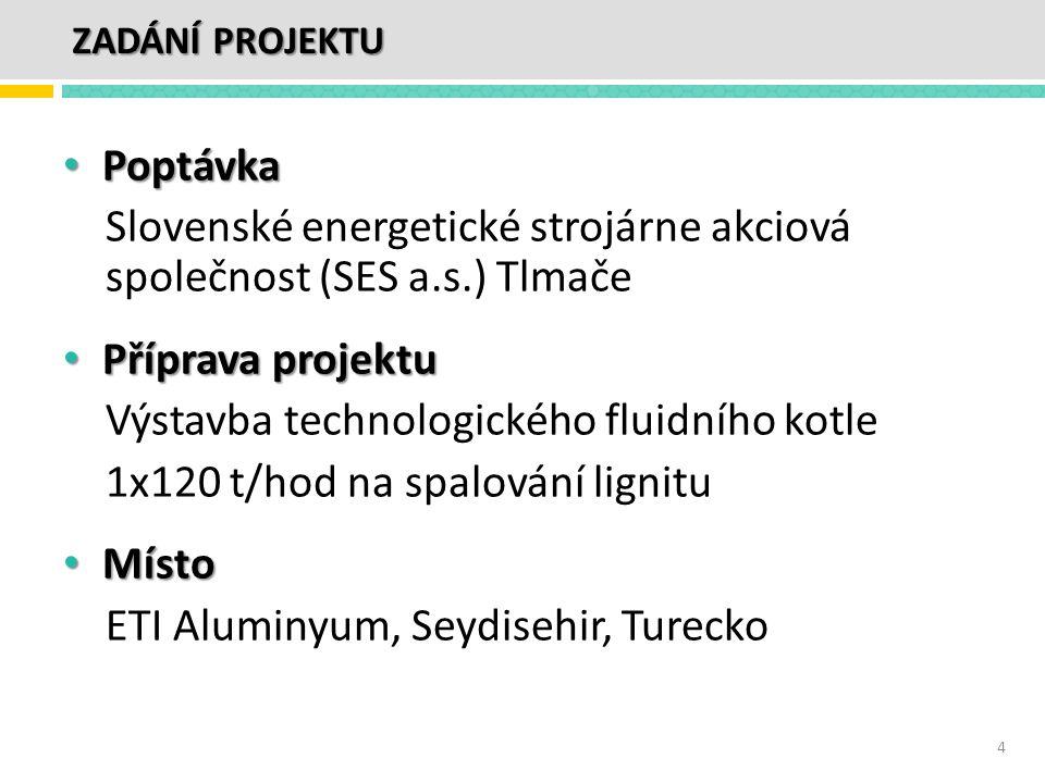 • Poptávka Slovenské energetické strojárne akciová společnost (SES a.s.) Tlmače • Příprava projektu Výstavba technologického fluidního kotle 1x120 t/h