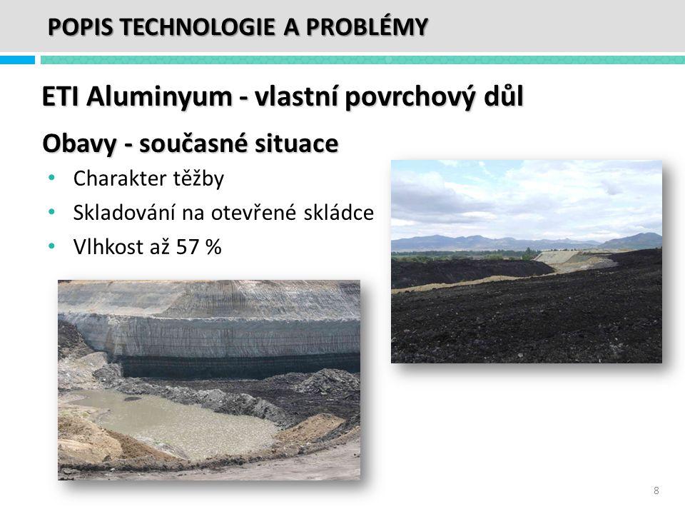 ETI Aluminyum - vlastní povrchový důl • Charakter těžby • Skladování na otevřené skládce • Vlhkost až 57 % Obavy - současné situace 8 POPIS TECHNOLOGI