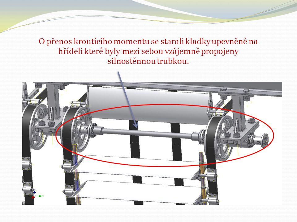 O přenos kroutícího momentu se starali kladky upevněné na hřídeli které byly mezi sebou vzájemně propojeny silnostěnnou trubkou.