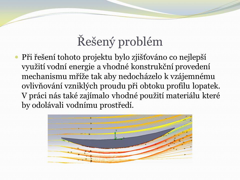 Řešený problém  Při řešení tohoto projektu bylo zjišťováno co nejlepší využití vodní energie a vhodné konstrukční provedení mechanismu mříže tak aby nedocházelo k vzájemnému ovlivňování vzniklých proudu při obtoku profilu lopatek.