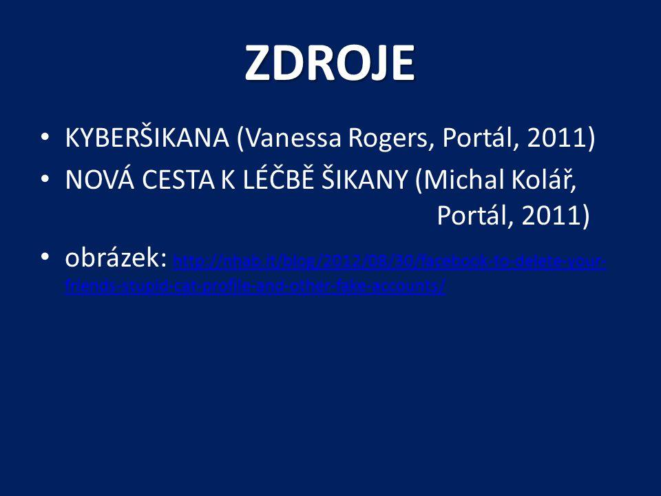 ZDROJE • KYBERŠIKANA (Vanessa Rogers, Portál, 2011) • NOVÁ CESTA K LÉČBĚ ŠIKANY (Michal Kolář, Portál, 2011) • obrázek: http://nhab.it/blog/2012/08/30/facebook-to-delete-your- friends-stupid-cat-profile-and-other-fake-accounts/ http://nhab.it/blog/2012/08/30/facebook-to-delete-your- friends-stupid-cat-profile-and-other-fake-accounts/