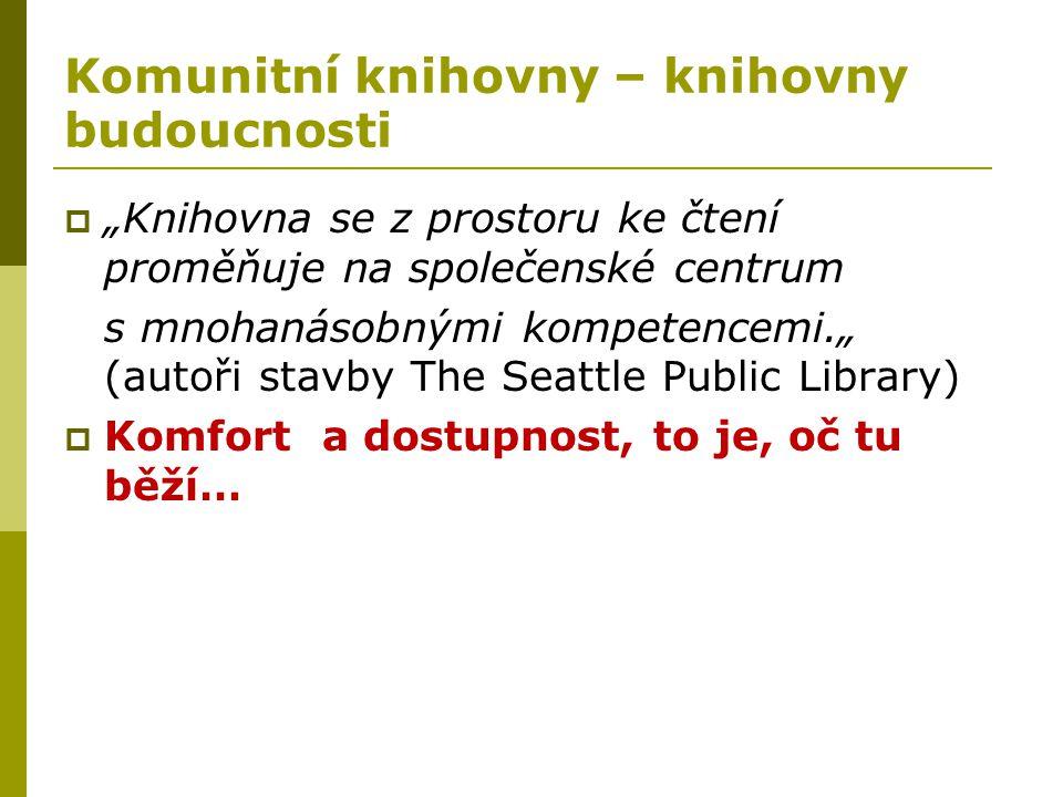 """Komunitní knihovny – knihovny budoucnosti  """"Knihovna se z prostoru ke čtení proměňuje na společenské centrum s mnohanásobnými kompetencemi."""" (autoři"""