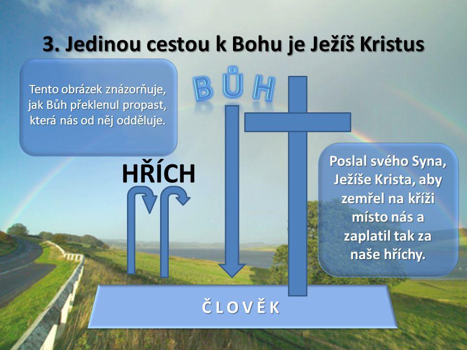 3. Jedinou cestou k Bohu je Ježíš Kristus HŘÍCH ČLOVĚKČLOVĚK Tento obrázek znázorňuje, jak Bůh překlenul propast, která nás od něj odděluje. Poslal sv