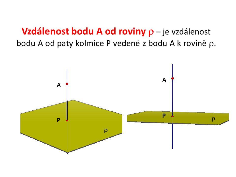 Vzdálenost bodu A od roviny  – je vzdálenost bodu A od paty kolmice P vedené z bodu A k rovině .  A A P P 