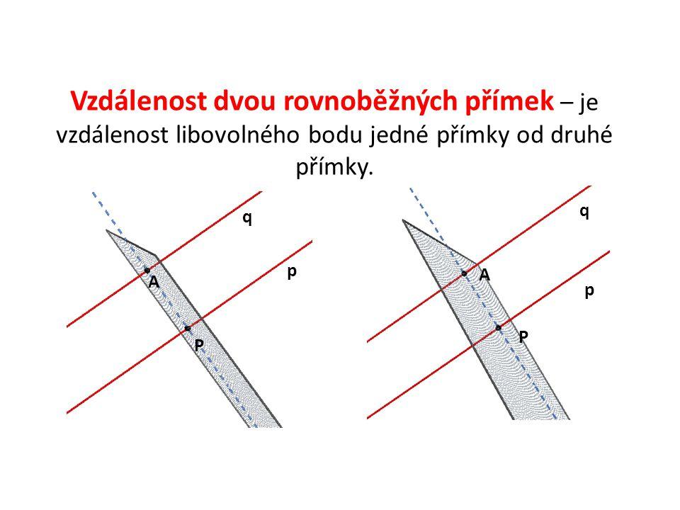 Vzdálenost dvou mimoběžných přímek p, q – je rovna délce úsečky PQ, kde body P,Q jsou po řadě průsečíky mimoběžek p,q s takovou příčkou mimoběžek, která je k oběma z nich kolmá.