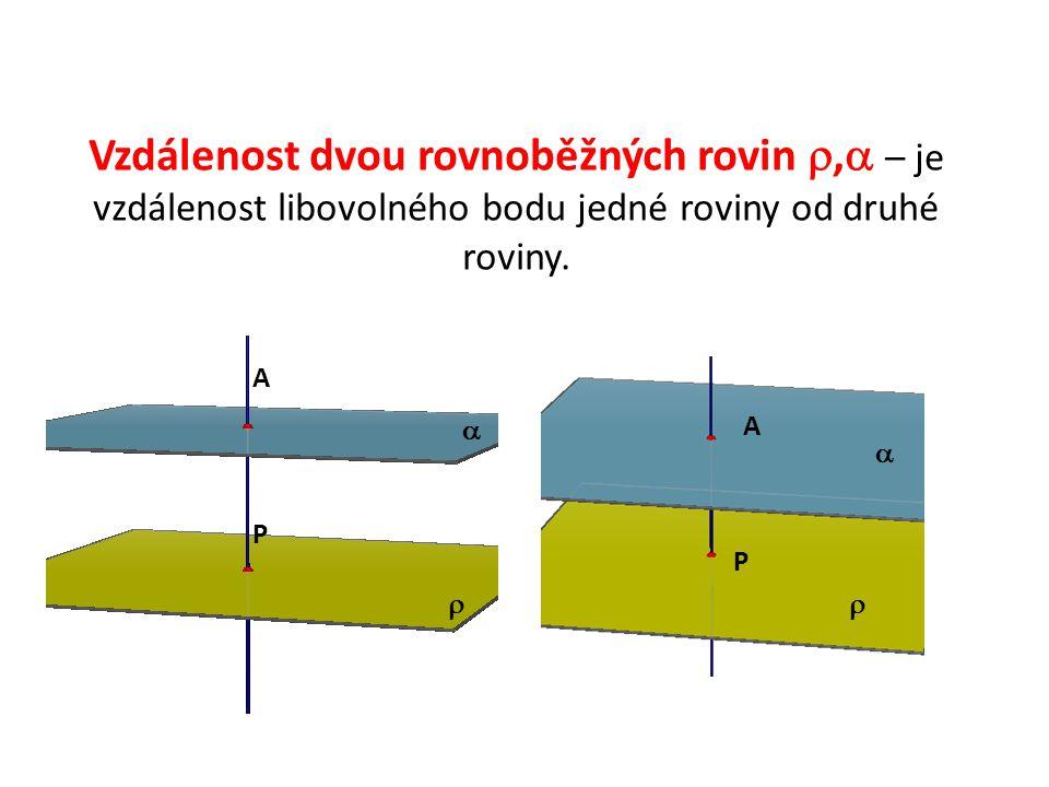 Vzdálenost dvou rovnoběžných rovin ,  – je vzdálenost libovolného bodu jedné roviny od druhé roviny.  A P A P  