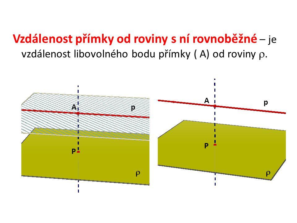 Vzdálenost přímky od roviny s ní rovnoběžné – je vzdálenost libovolného bodu přímky ( A) od roviny . p A A P P  p 