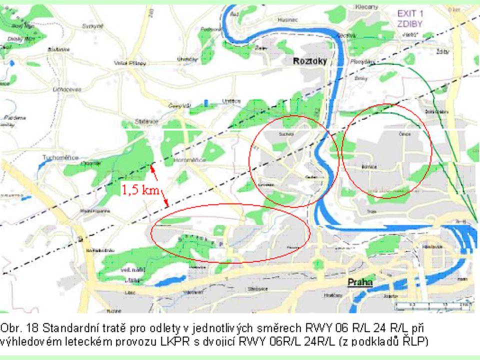Šárecké údolí Vypočítané ochranné hlukové pásmo (OHP) staré a nové dráhy Nová RWY je o 1,5 km blíže ku Praze.