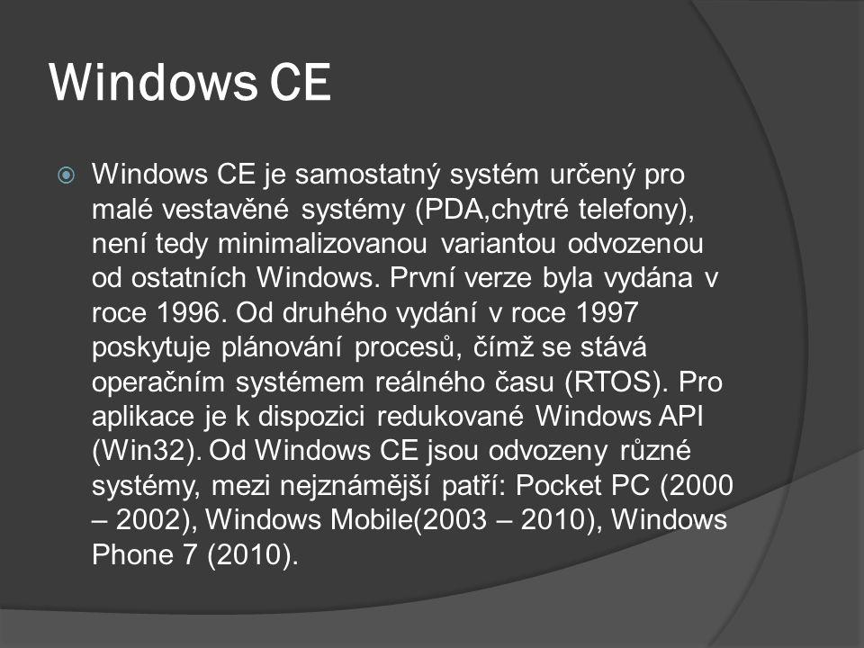 Windows CE  Windows CE je samostatný systém určený pro malé vestavěné systémy (PDA,chytré telefony), není tedy minimalizovanou variantou odvozenou od ostatních Windows.
