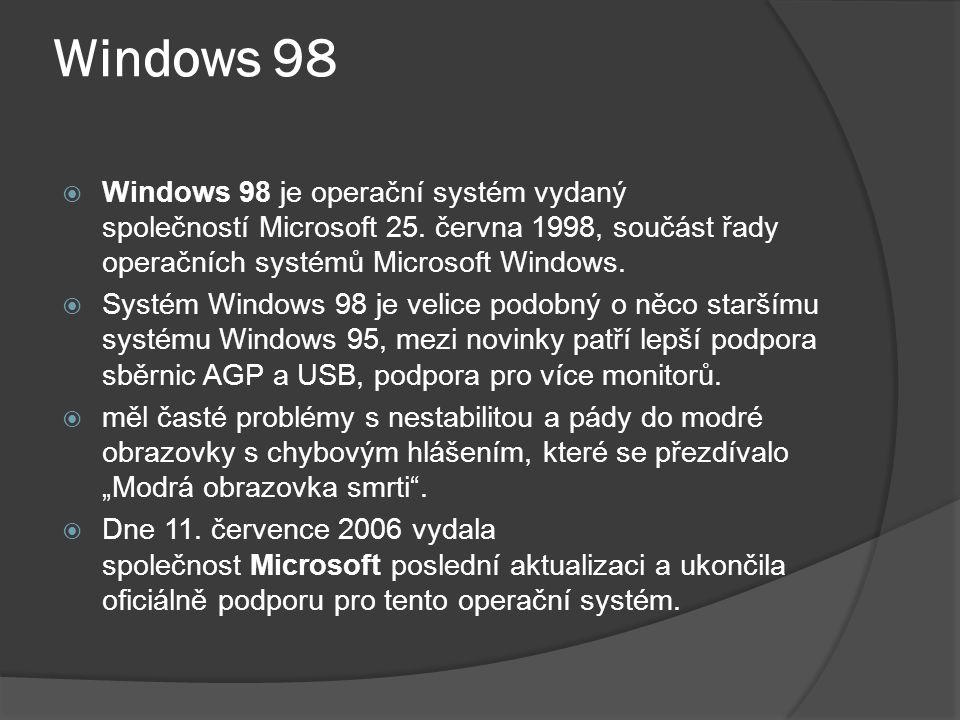 Windows 98  Windows 98 je operační systém vydaný společností Microsoft 25.