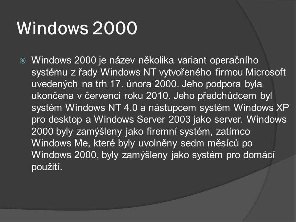 Windows 2000  Windows 2000 je název několika variant operačního systému z řady Windows NT vytvořeného firmou Microsoft uvedených na trh 17.