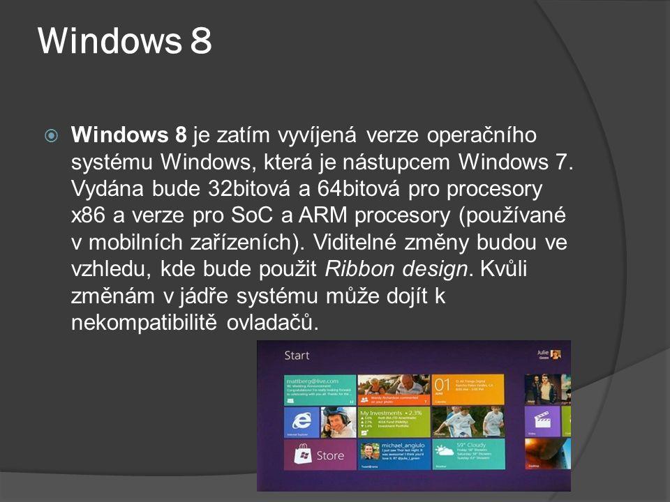 Windows 8  Windows 8 je zatím vyvíjená verze operačního systému Windows, která je nástupcem Windows 7.