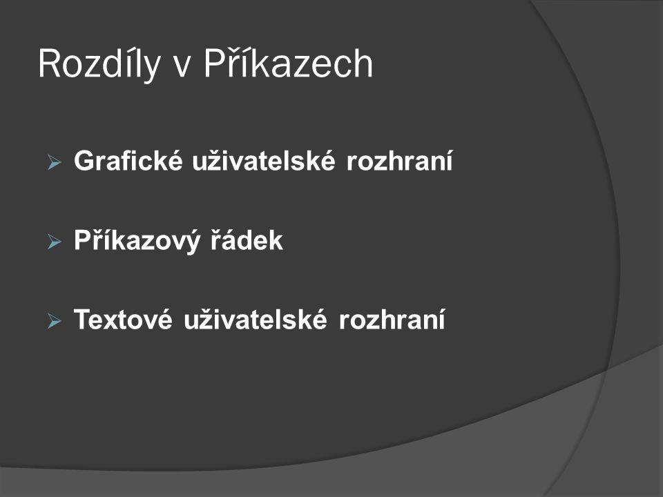 Rozdíly v Příkazech  Grafické uživatelské rozhraní  Příkazový řádek  Textové uživatelské rozhraní