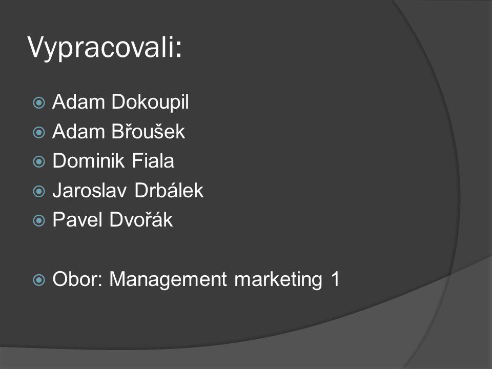 Vypracovali:  Adam Dokoupil  Adam Břoušek  Dominik Fiala  Jaroslav Drbálek  Pavel Dvořák  Obor: Management marketing 1