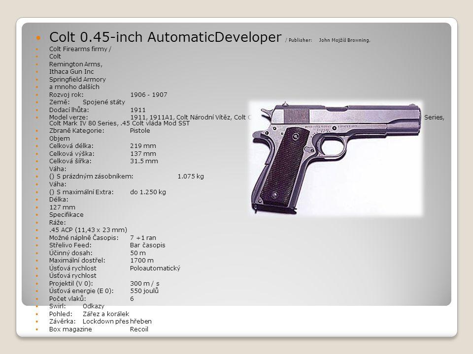  Colt 0.45-inch AutomaticDeveloper / Publisher: John Mojžíš Browning,  Colt Firearms firmy /  Colt  Remington Arms,  Ithaca Gun Inc  Springfield