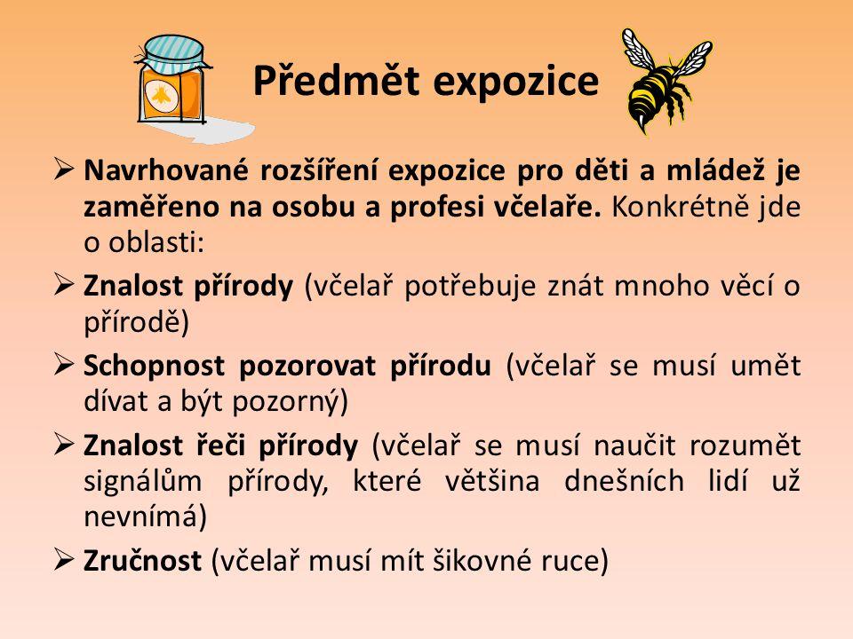 Předmět expozice  Navrhované rozšíření expozice pro děti a mládež je zaměřeno na osobu a profesi včelaře. Konkrétně jde o oblasti:  Znalost přírody