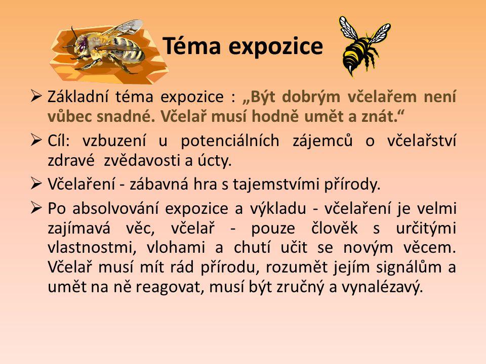 """Téma expozice  Základní téma expozice : """"Být dobrým včelařem není vůbec snadné. Včelař musí hodně umět a znát.""""  Cíl: vzbuzení u potenciálních zájem"""