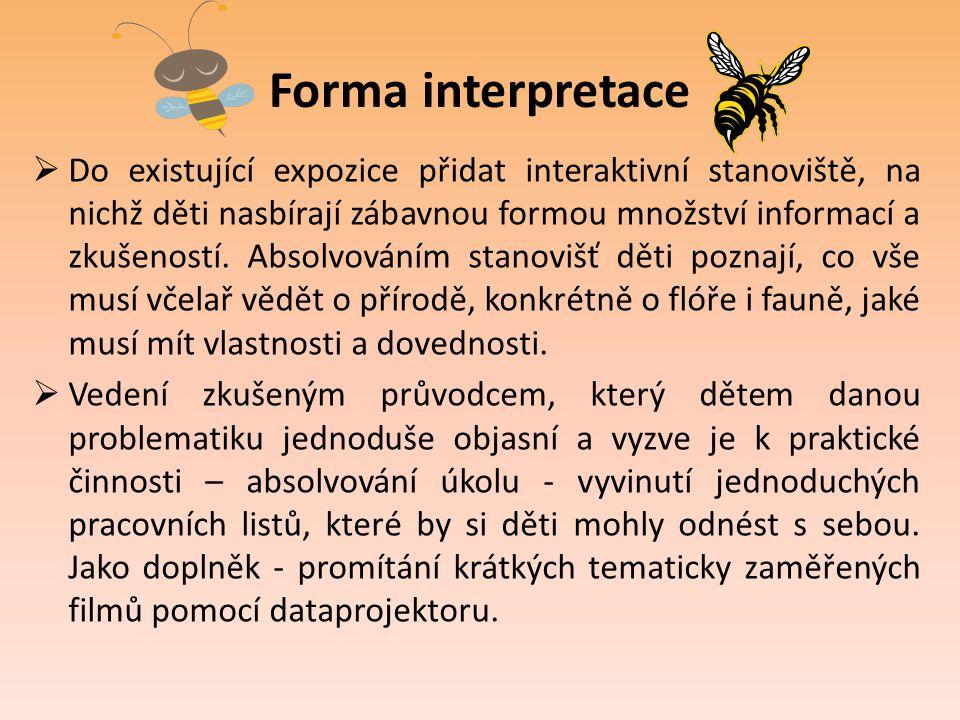 Forma interpretace  Do existující expozice přidat interaktivní stanoviště, na nichž děti nasbírají zábavnou formou množství informací a zkušeností. A