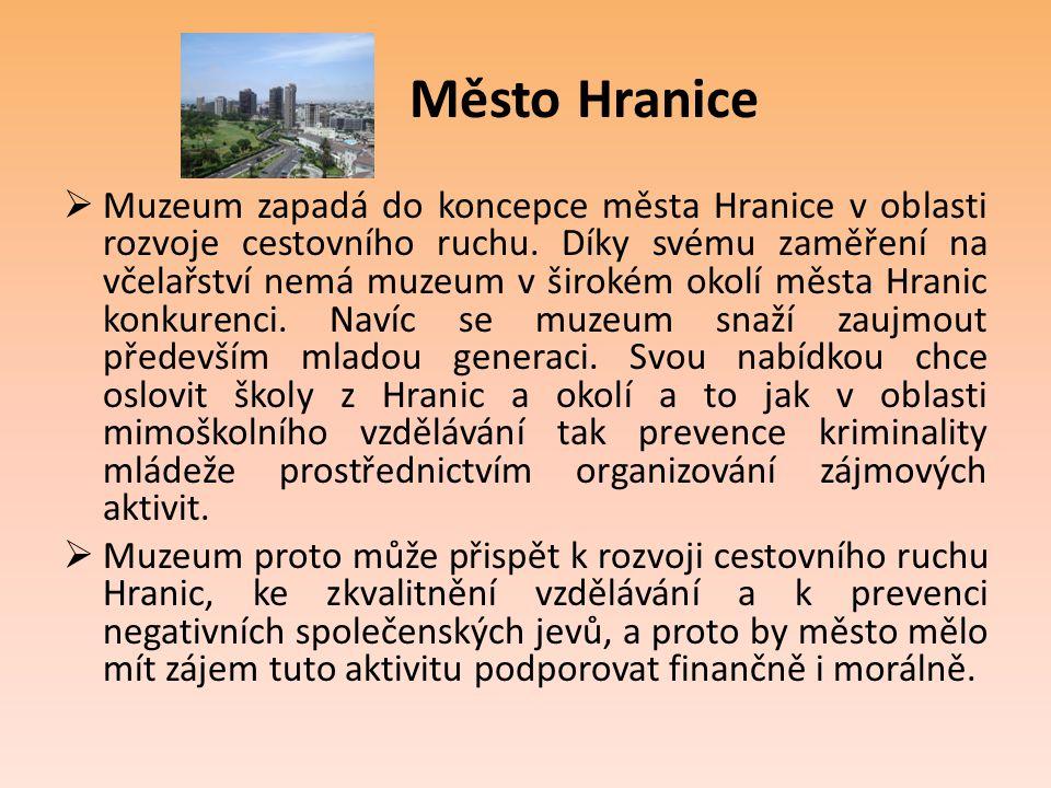 Město Hranice  Muzeum zapadá do koncepce města Hranice v oblasti rozvoje cestovního ruchu. Díky svému zaměření na včelařství nemá muzeum v širokém ok
